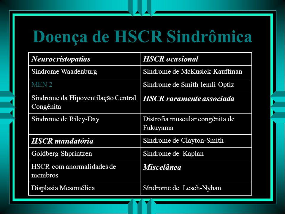 Doença de HSCR Sindrômica Síndrome de Lesch-NyhanDisplasia Mesomélica Miscelânea HSCR com anormalidades de membros Síndrome de KaplanGoldberg-Shprintz