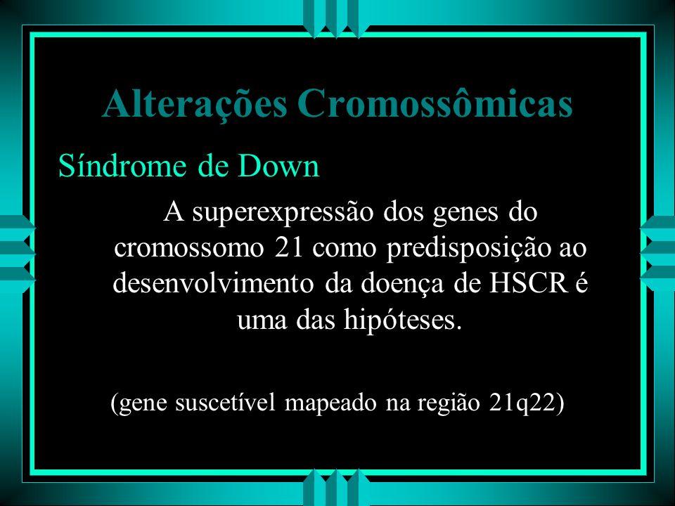 Alterações Cromossômicas Síndrome de Down A superexpressão dos genes do cromossomo 21 como predisposição ao desenvolvimento da doença de HSCR é uma da