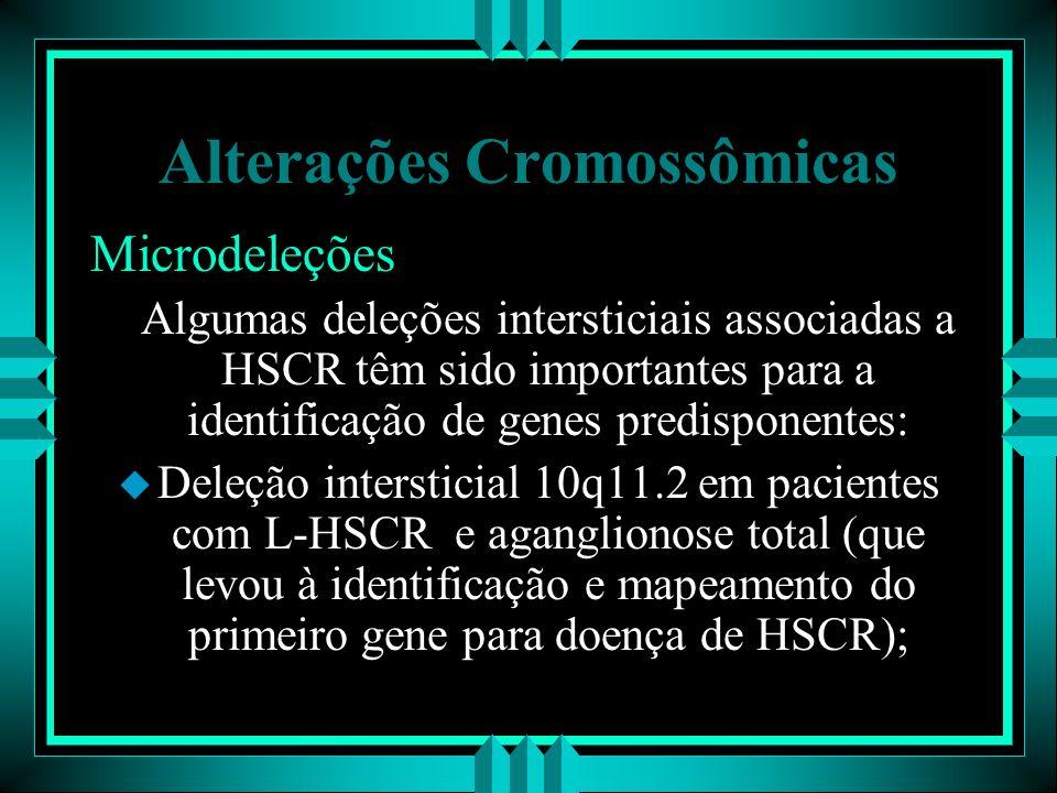 Alterações Cromossômicas Microdeleções Algumas deleções intersticiais associadas a HSCR têm sido importantes para a identificação de genes predisponen