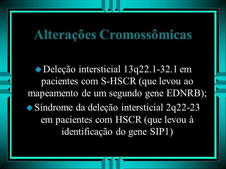 Alterações Cromossômicas u Deleção intersticial 13q22.1-32.1 em pacientes com S-HSCR (que levou ao mapeamento de um segundo gene EDNRB); u Síndrome da