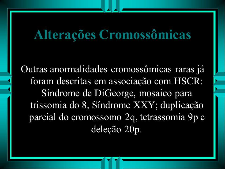 Alterações Cromossômicas Outras anormalidades cromossômicas raras já foram descritas em associação com HSCR: Síndrome de DiGeorge, mosaico para trisso