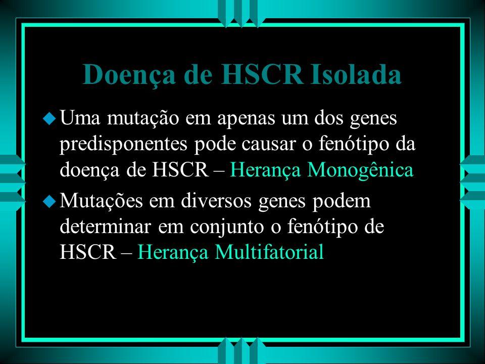 Doença de HSCR Isolada u Uma mutação em apenas um dos genes predisponentes pode causar o fenótipo da doença de HSCR – Herança Monogênica u Mutações em