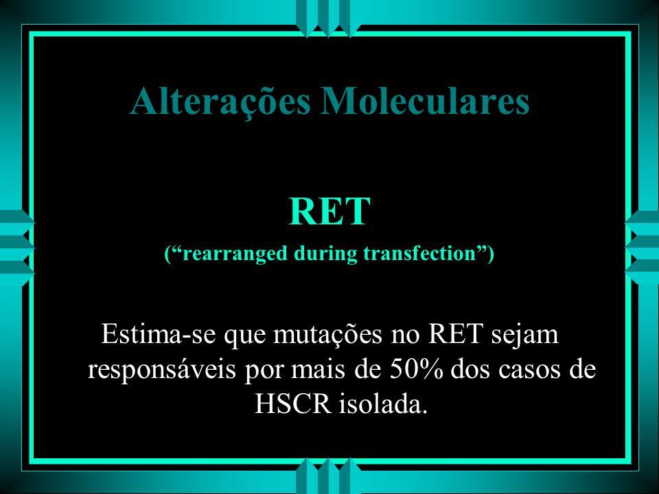 Alterações Moleculares RET (rearranged during transfection) Estima-se que mutações no RET sejam responsáveis por mais de 50% dos casos de HSCR isolada