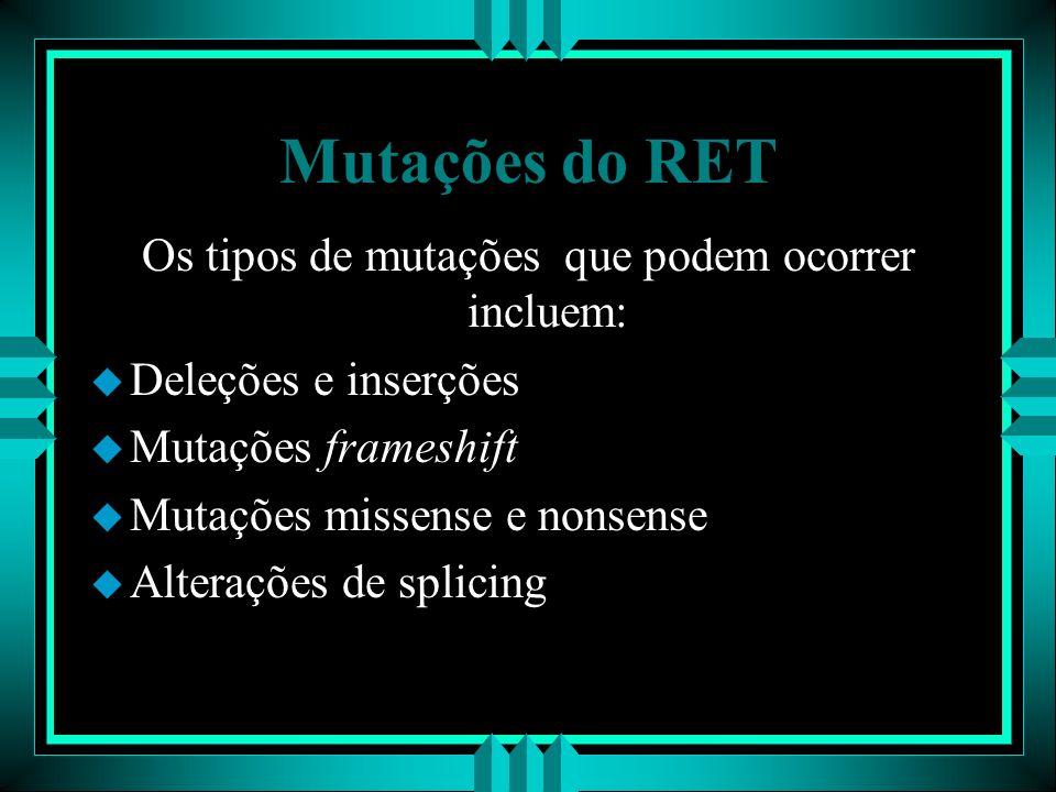 Mutações do RET Os tipos de mutações que podem ocorrer incluem: u Deleções e inserções u Mutações frameshift u Mutações missense e nonsense u Alteraçõ