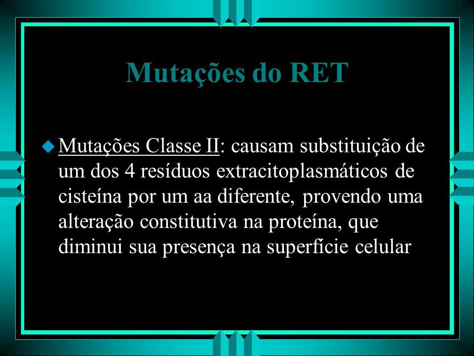 Mutações do RET u Mutações Classe II: causam substituição de um dos 4 resíduos extracitoplasmáticos de cisteína por um aa diferente, provendo uma alte