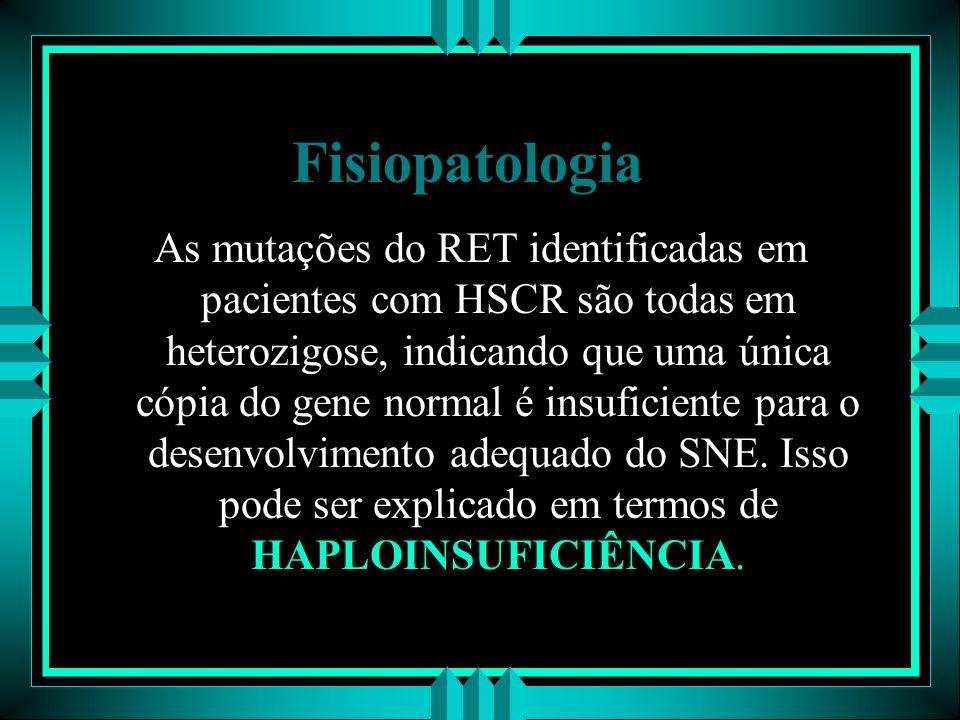 Fisiopatologia As mutações do RET identificadas em pacientes com HSCR são todas em heterozigose, indicando que uma única cópia do gene normal é insufi