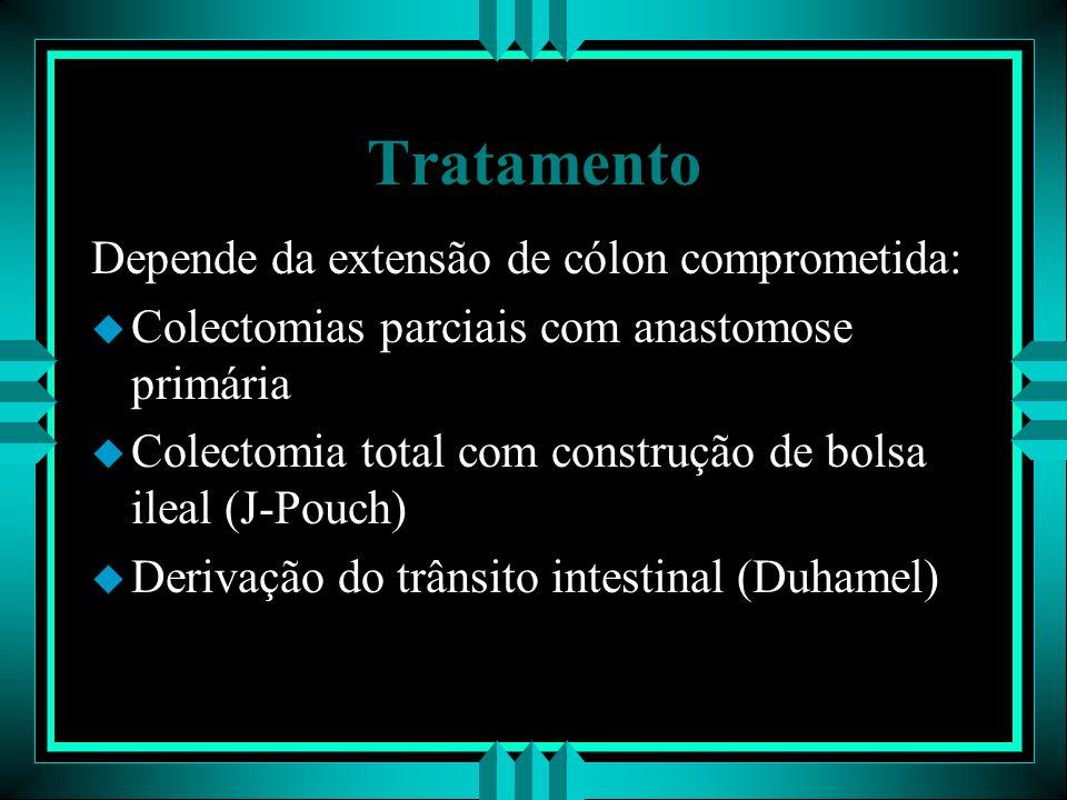 Tratamento Depende da extensão de cólon comprometida: u Colectomias parciais com anastomose primária u Colectomia total com construção de bolsa ileal