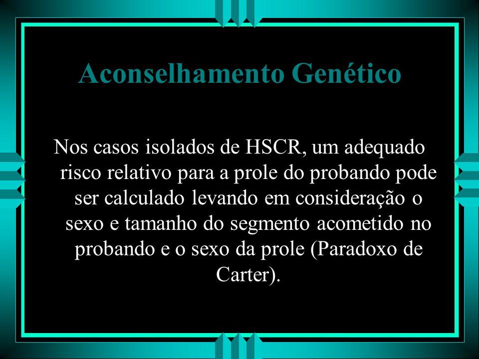 Aconselhamento Genético Nos casos isolados de HSCR, um adequado risco relativo para a prole do probando pode ser calculado levando em consideração o s