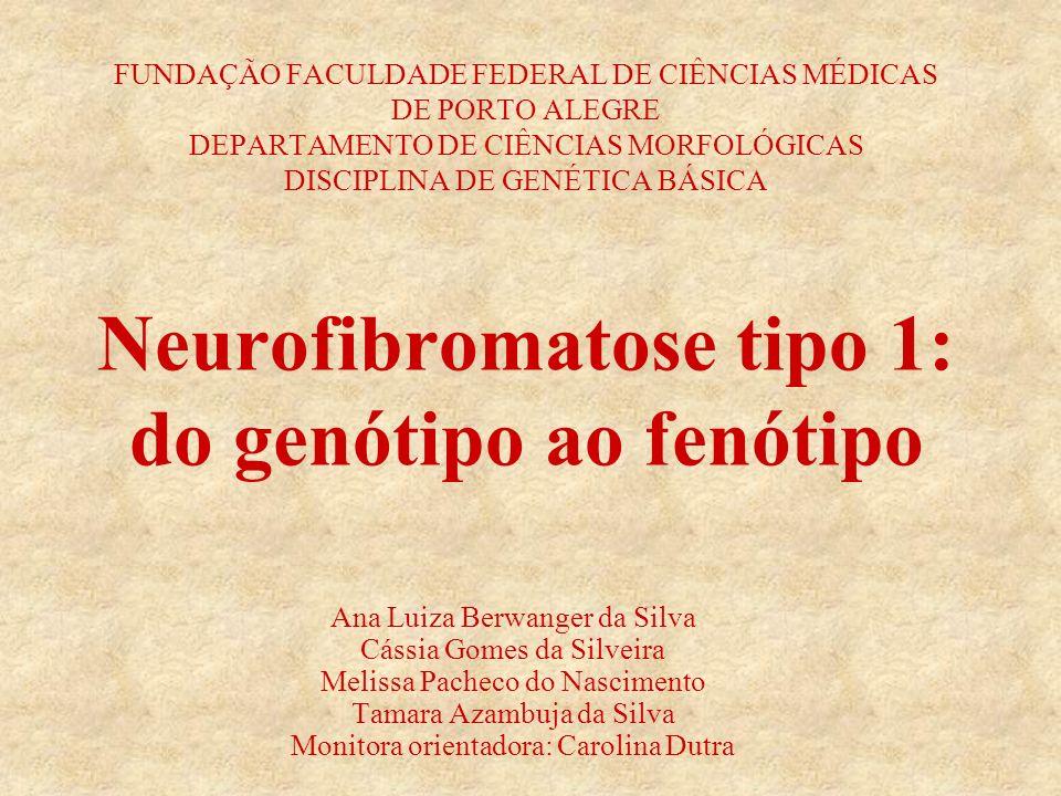 FUNDAÇÃO FACULDADE FEDERAL DE CIÊNCIAS MÉDICAS DE PORTO ALEGRE DEPARTAMENTO DE CIÊNCIAS MORFOLÓGICAS DISCIPLINA DE GENÉTICA BÁSICA Neurofibromatose tipo 1: do genótipo ao fenótipo Ana Luiza Berwanger da Silva Cássia Gomes da Silveira Melissa Pacheco do Nascimento Tamara Azambuja da Silva Monitora orientadora: Carolina Dutra