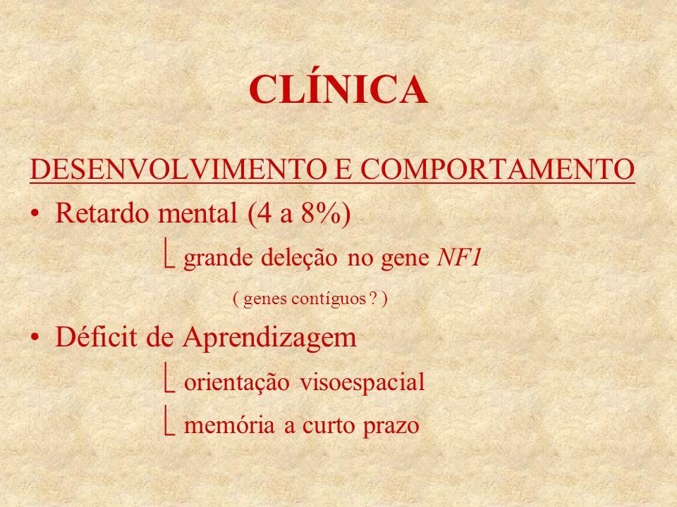 CLÍNICA DESENVOLVIMENTO E COMPORTAMENTO Retardo mental (4 a 8%) grande deleção no gene NF1 ( genes contíguos .