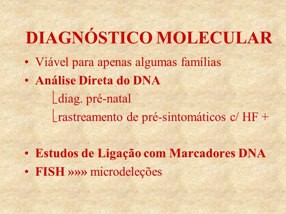 DIAGNÓSTICO MOLECULAR Viável para apenas algumas famílias Análise Direta do DNA diag.