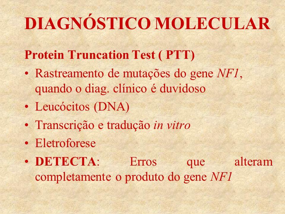 DIAGNÓSTICO MOLECULAR Protein Truncation Test ( PTT) Rastreamento de mutações do gene NF1, quando o diag.