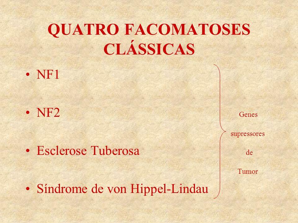 QUATRO FACOMATOSES CLÁSSICAS NF1 NF2 Genes supressores Esclerose Tuberosa de Tumor Síndrome de von Hippel-Lindau