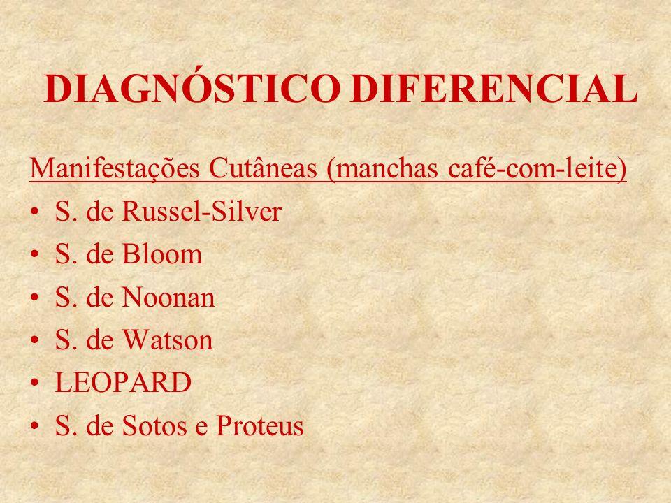 DIAGNÓSTICO DIFERENCIAL Manifestações Cutâneas (manchas café-com-leite) S.