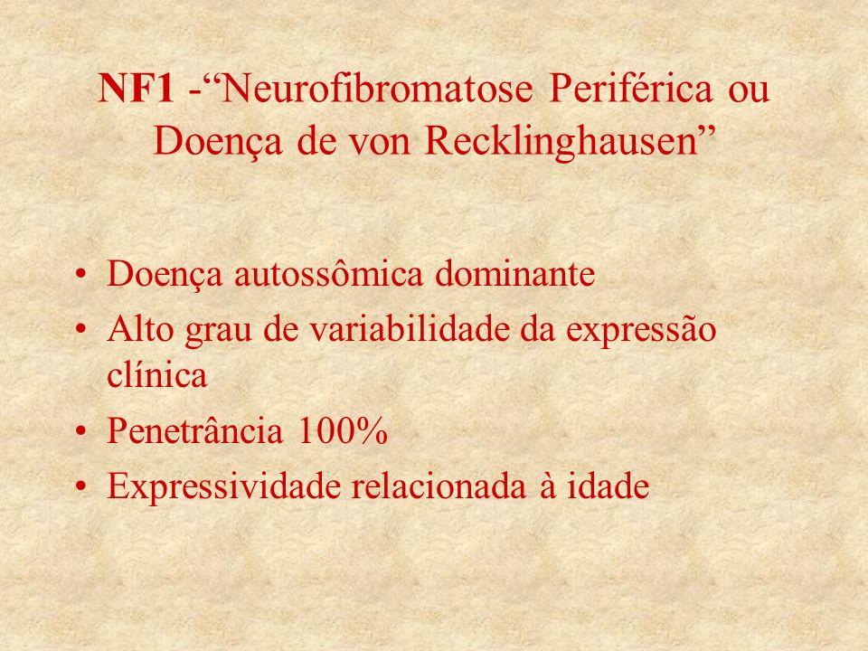 NF1 -Neurofibromatose Periférica ou Doença de von Recklinghausen Doença autossômica dominante Alto grau de variabilidade da expressão clínica Penetrância 100% Expressividade relacionada à idade