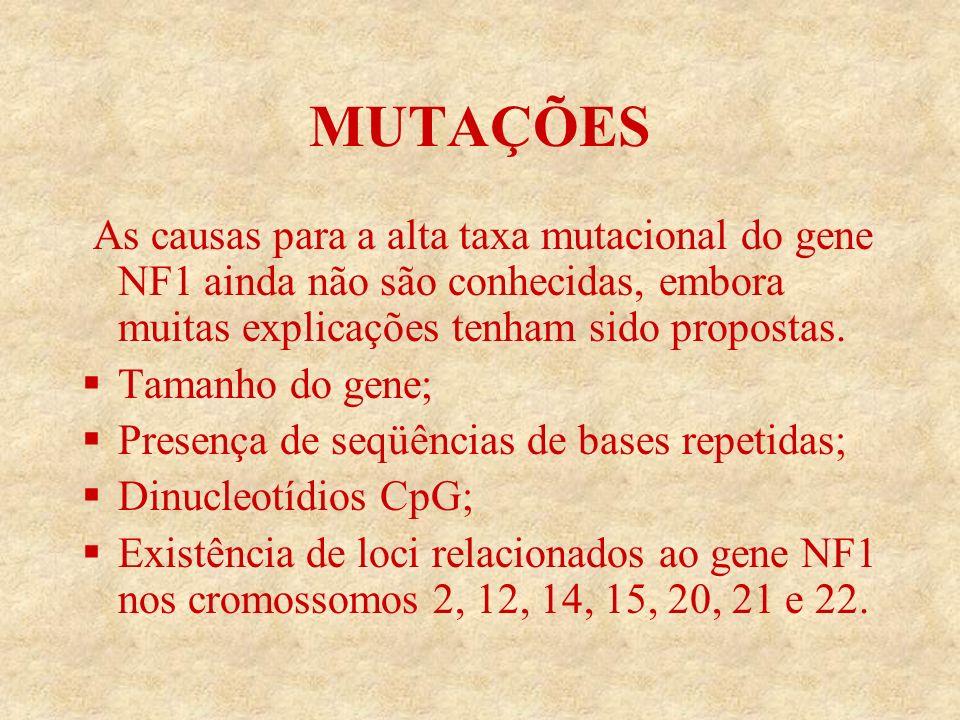 MUTAÇÕES As causas para a alta taxa mutacional do gene NF1 ainda não são conhecidas, embora muitas explicações tenham sido propostas.