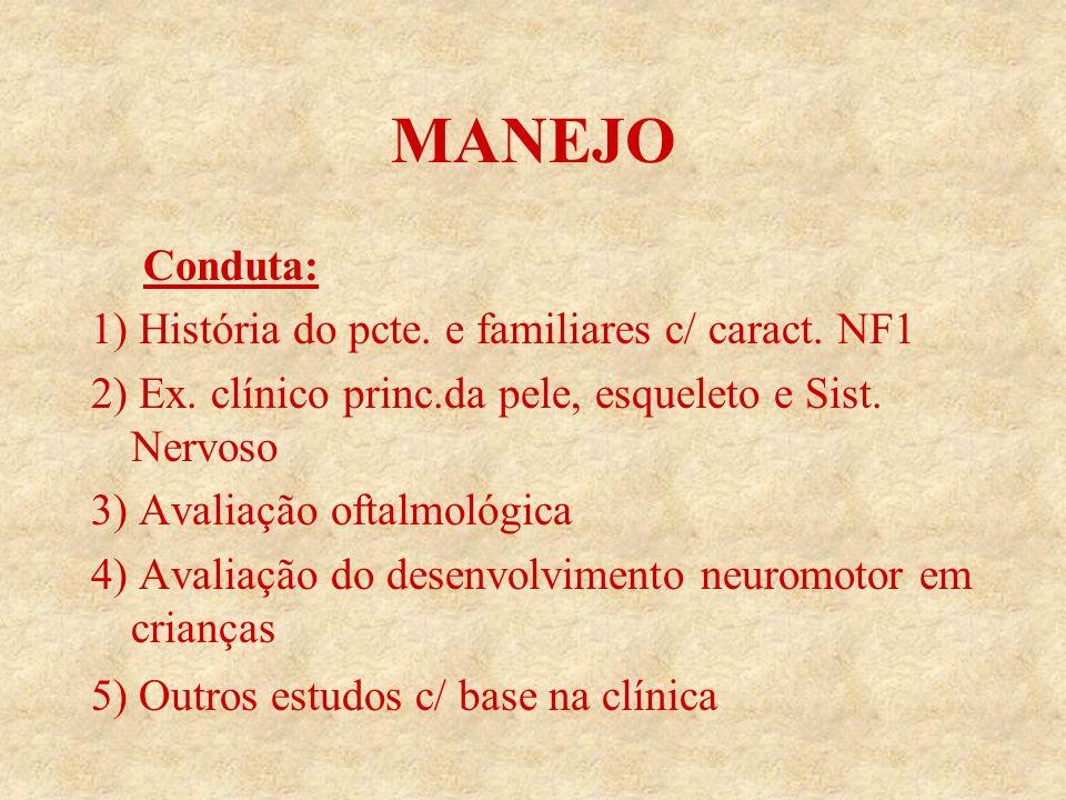 Conduta: 1) História do pcte.e familiares c/ caract.