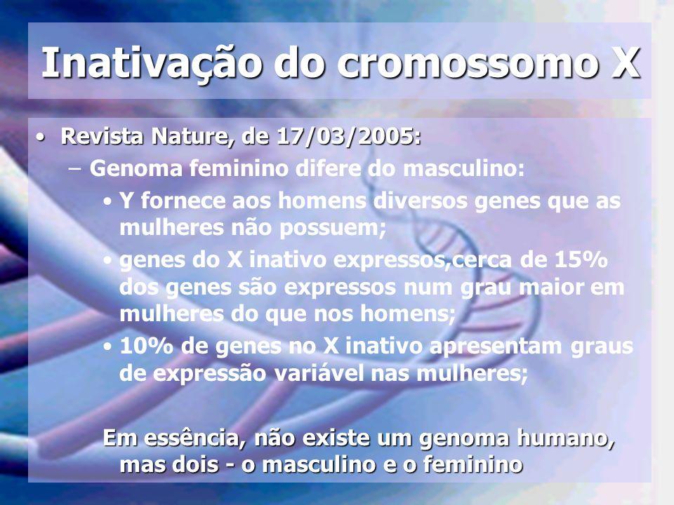 Inativação do cromossomo X Revista Nature, de 17/03/2005:Revista Nature, de 17/03/2005: –Genoma feminino difere do masculino: Y fornece aos homens div