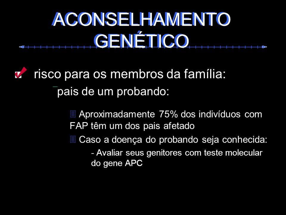 risco para os membros da família: pais de um probando: Aproximadamente 75% dos indivíduos com FAP têm um dos pais afetado Caso a doença do probando se