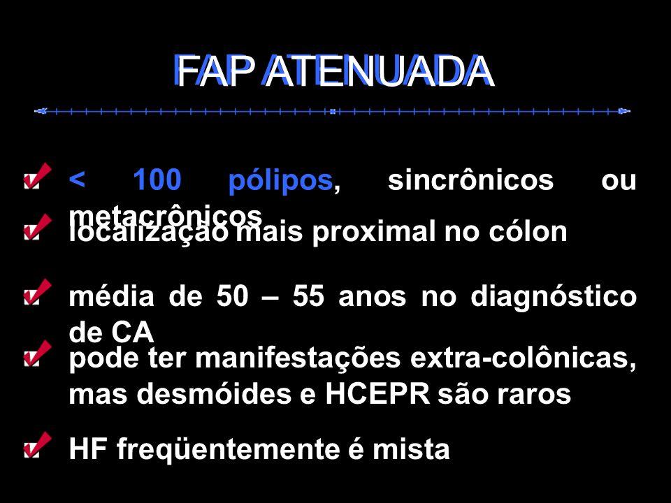 FAP ATENUADA < 100 pólipos, sincrônicos ou metacrônicos média de 50 – 55 anos no diagnóstico de CA pode ter manifestações extra-colônicas, mas desmóid
