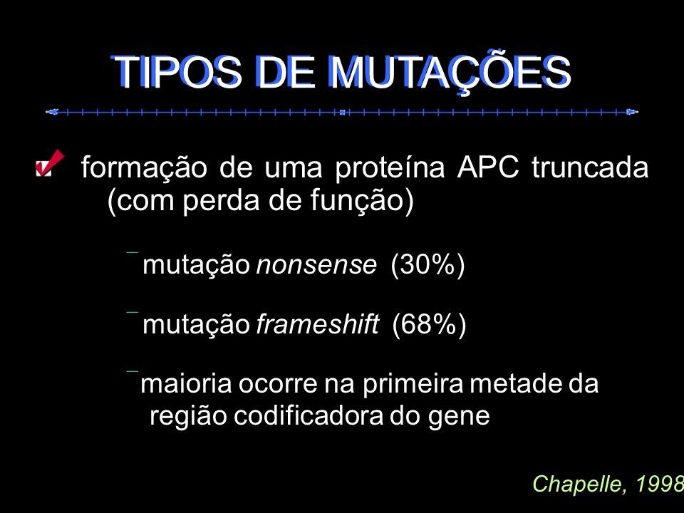 formação de uma proteína APC truncada (com perda de função) mutação nonsense (30%) mutação frameshift (68%) maioria ocorre na primeira metade da regiã
