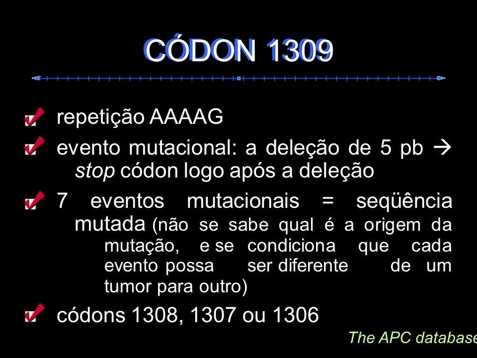 repetição AAAAG evento mutacional: a deleção de 5 pb stop códon logo após a deleção 7 eventos mutacionais = seqüência mutada (não se sabe qual é a ori