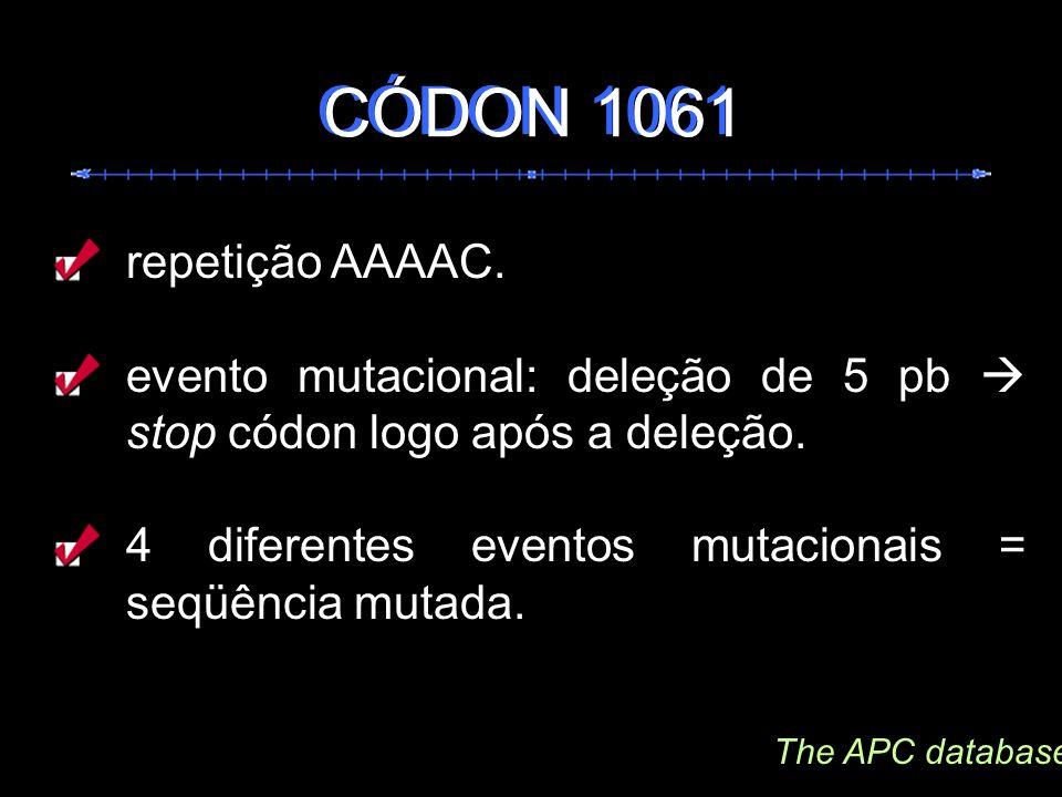 repetição AAAAC. evento mutacional: deleção de 5 pb stop códon logo após a deleção. 4 diferentes eventos mutacionais = seqüência mutada. CÓDON 1061 Th