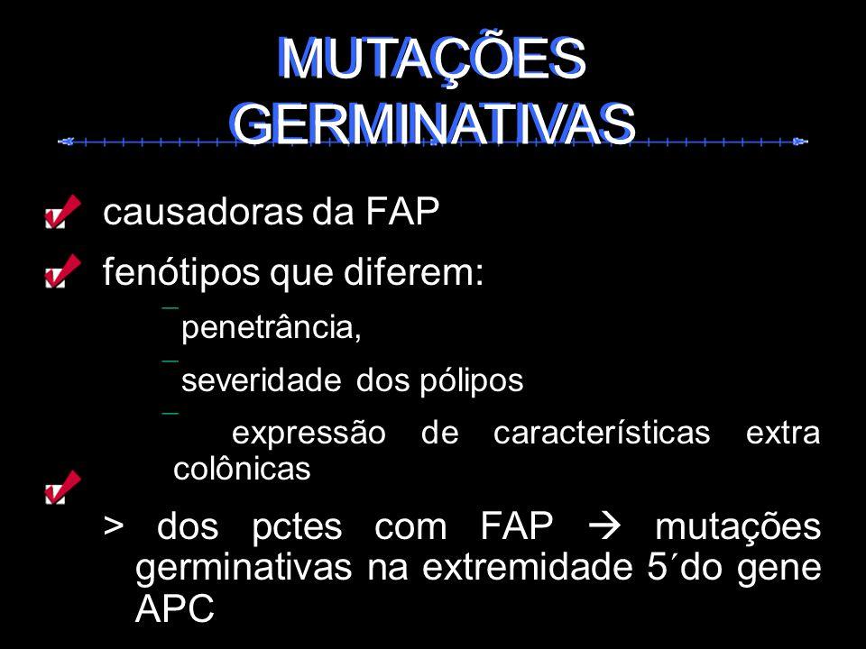 causadoras da FAP fenótipos que diferem: penetrância, severidade dos pólipos expressão de características extra colônicas > dos pctes com FAP mutações