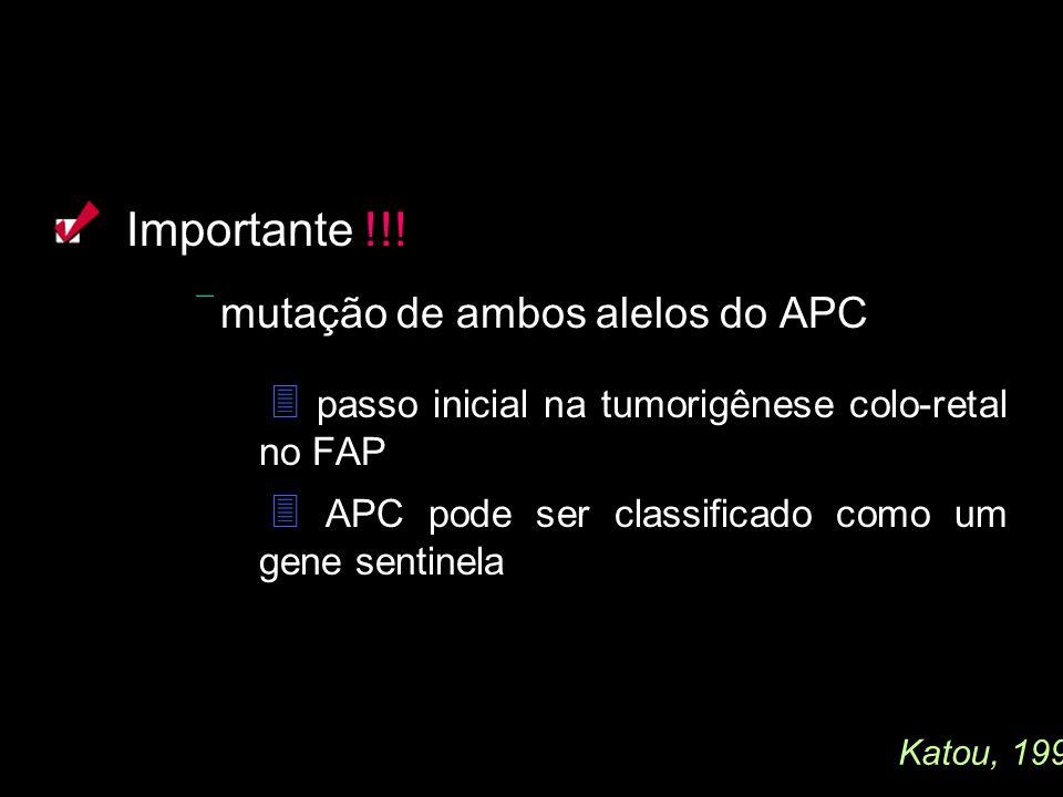 Importante !!! mutação de ambos alelos do APC passo inicial na tumorigênese colo-retal no FAP APC pode ser classificado como um gene sentinela Katou,