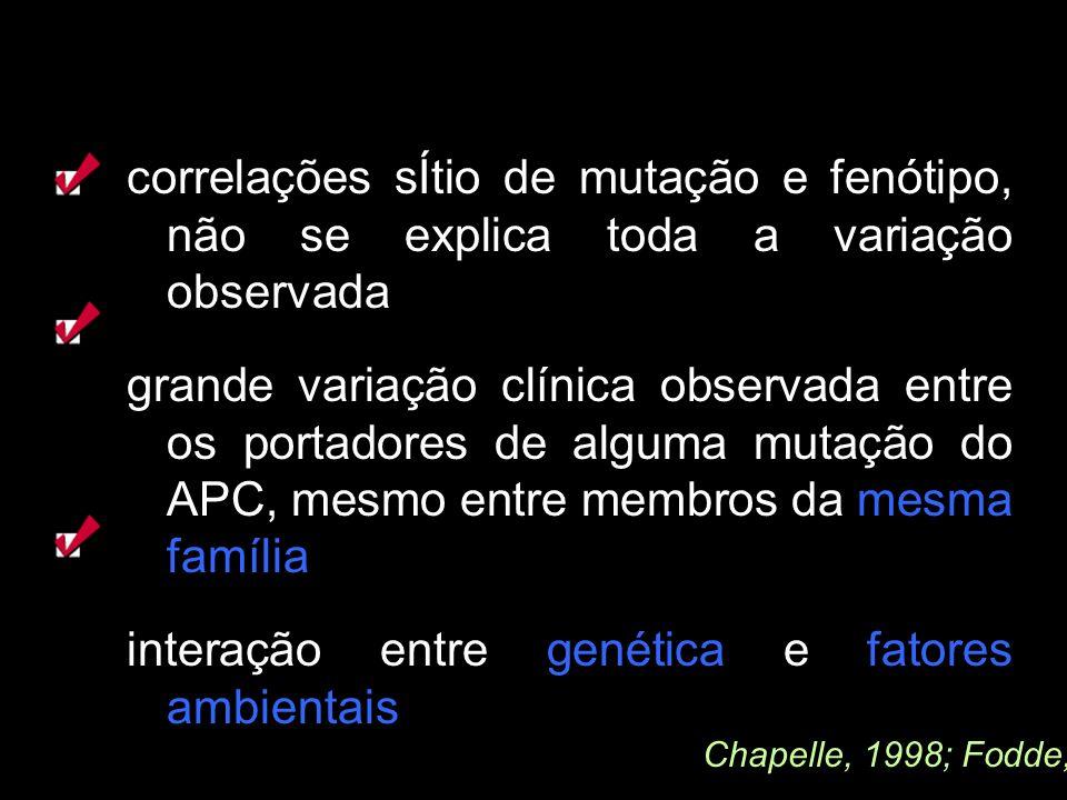 correlações sÍtio de mutação e fenótipo, não se explica toda a variação observada grande variação clínica observada entre os portadores de alguma muta