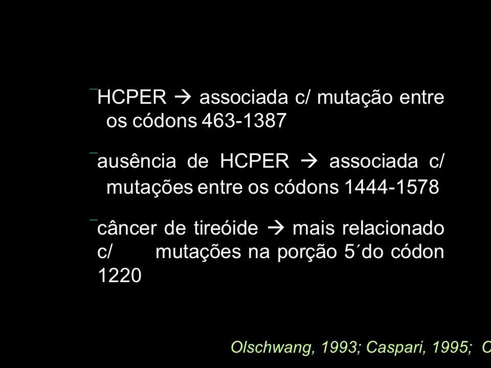 HCPER associada c/ mutação entre os códons 463-1387 ausência de HCPER associada c/ mutações entre os códons 1444-1578 câncer de tireóide mais relacion