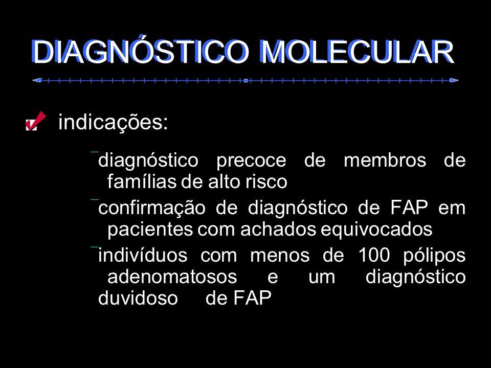 indicações: diagnóstico precoce de membros de famílias de alto risco confirmação de diagnóstico de FAP em pacientes com achados equivocados indivíduos