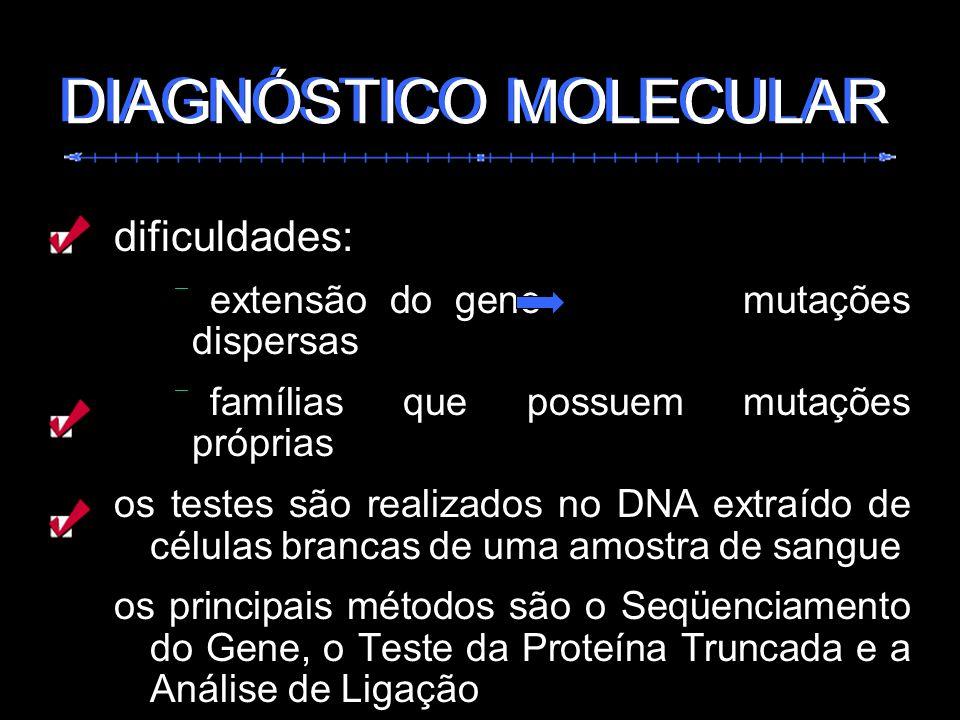 dificuldades: extensão do gene mutações dispersas famílias que possuem mutações próprias os testes são realizados no DNA extraído de células brancas d