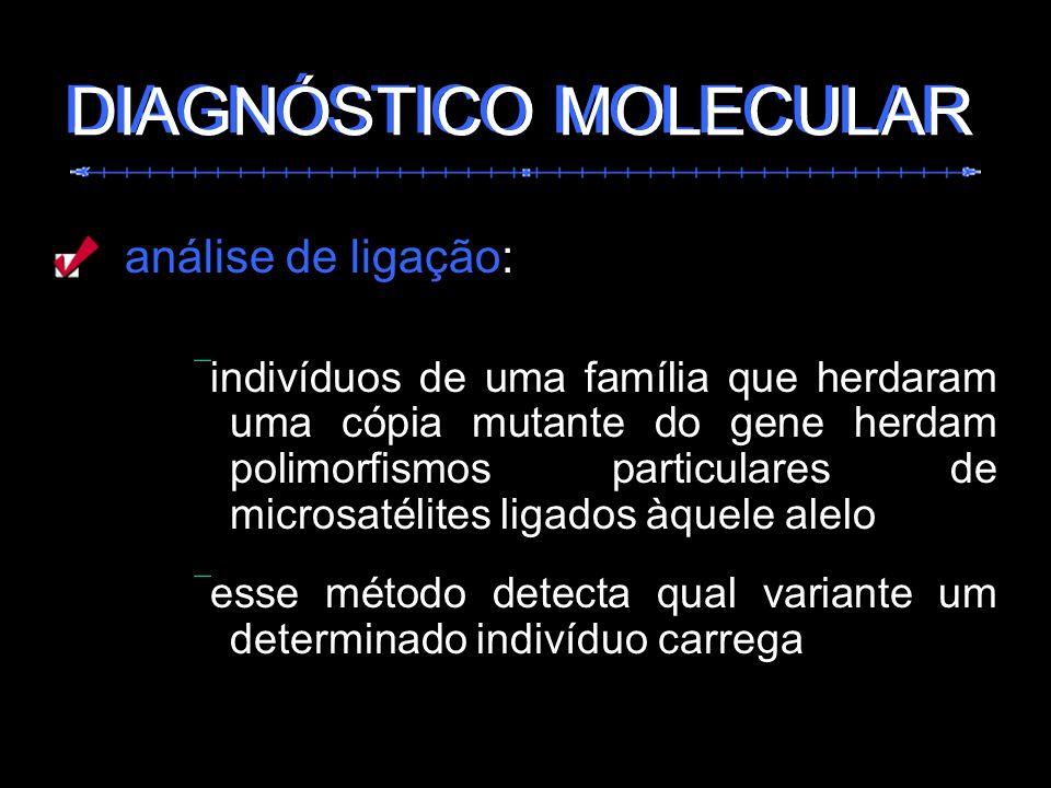 análise de ligação: indivíduos de uma família que herdaram uma cópia mutante do gene herdam polimorfismos particulares de microsatélites ligados àquel
