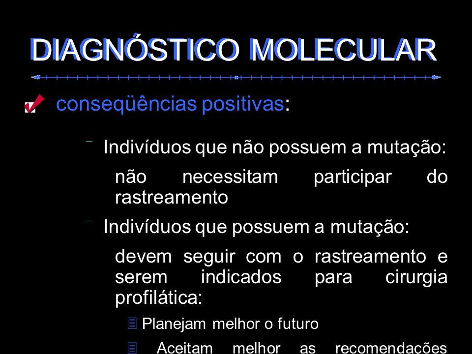 conseqüências positivas: Indivíduos que não possuem a mutação: não necessitam participar do rastreamento Indivíduos que possuem a mutação: devem segui