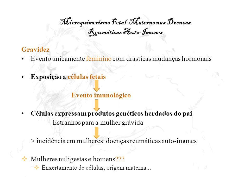 Microquimerismo Fetal-Materno nas Doenças Reumáticas Auto-Imunes Gravidez Evento unicamente feminino com drásticas mudanças hormonais Exposição a célu