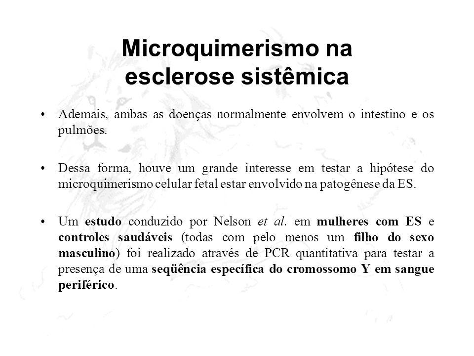 Microquimerismo na esclerose sistêmica Ademais, ambas as doenças normalmente envolvem o intestino e os pulmões. Dessa forma, houve um grande interesse