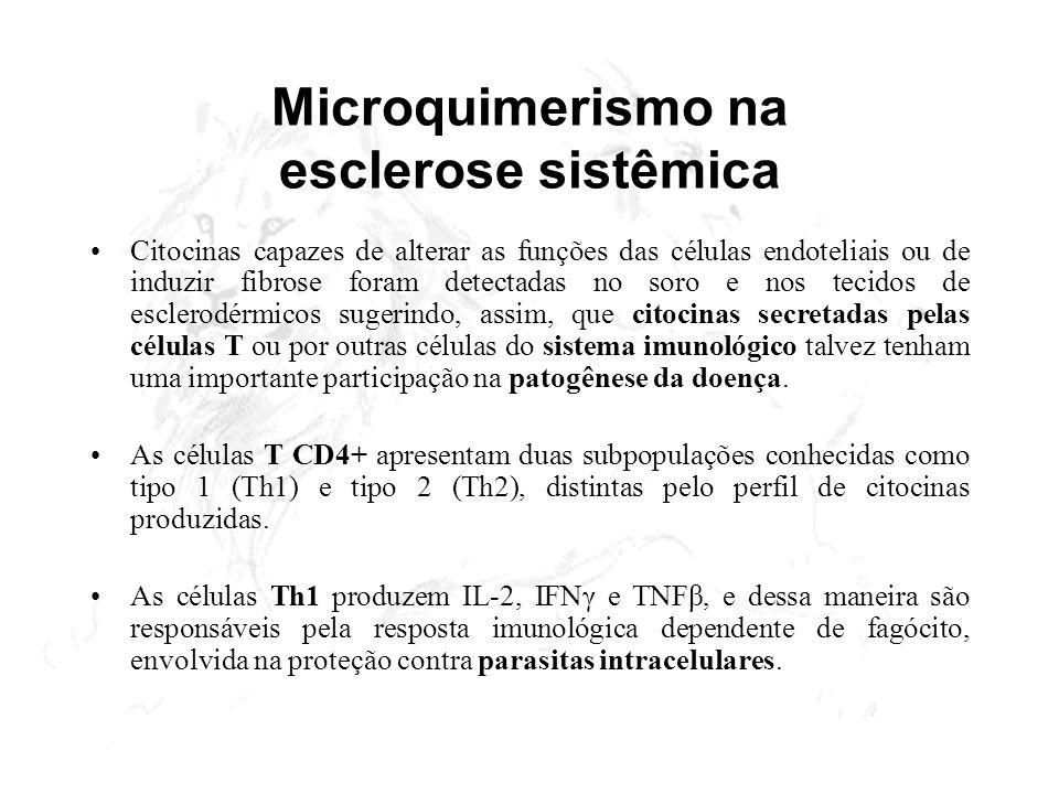 Microquimerismo na esclerose sistêmica Citocinas capazes de alterar as funções das células endoteliais ou de induzir fibrose foram detectadas no soro