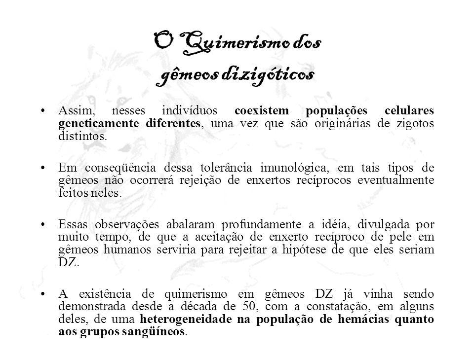 O Quimerismo dos gêmeos dizigóticos Assim, nesses indivíduos coexistem populações celulares geneticamente diferentes, uma vez que são originárias de z