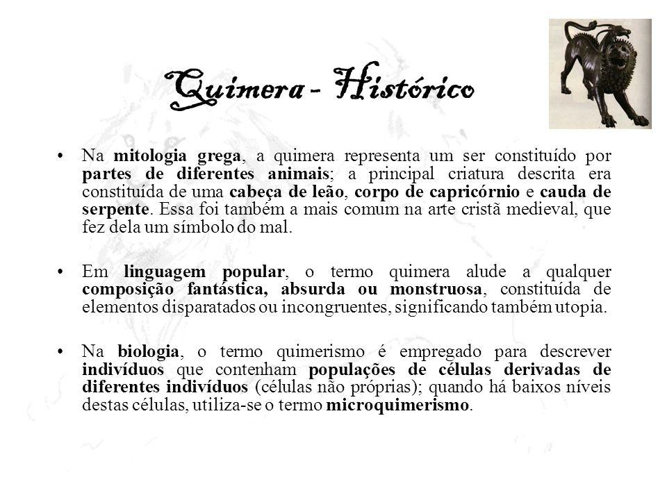 Quimera - Histórico Na mitologia grega, a quimera representa um ser constituído por partes de diferentes animais; a principal criatura descrita era co