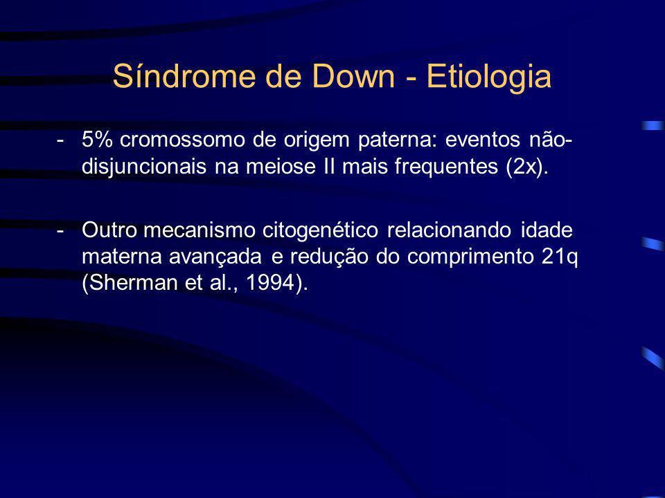 Síndrome de Down - Etiologia 2. Trissomia do cromossomo 21: -95% dos portadores de síndrome de Down (47,XX,+21; 47,XY,+21). -Frequentes em progênies d