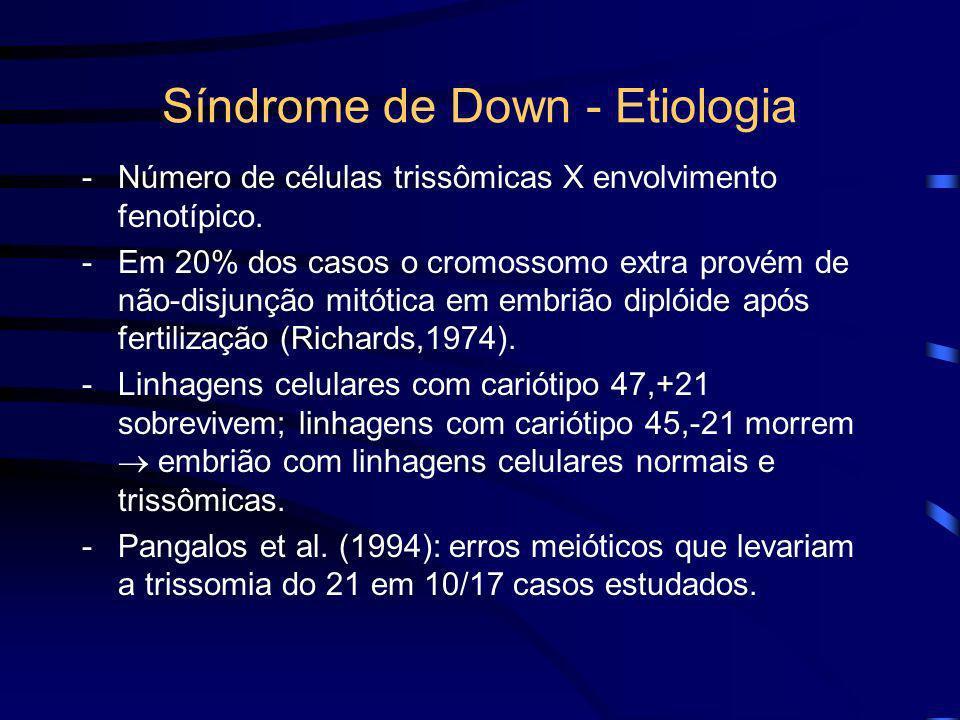 Síndrome de Down - Etiologia 4. Mosaicismo do cromossomo 21: -Presença de duas ou mais populações de células que diferem no seu conteúdo cromossômico.