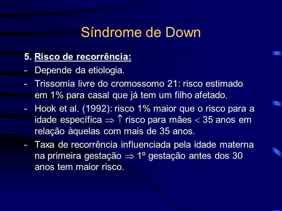 Síndrome de Down - Etiologia -Número de células trissômicas X envolvimento fenotípico. -Em 20% dos casos o cromossomo extra provém de não-disjunção mi