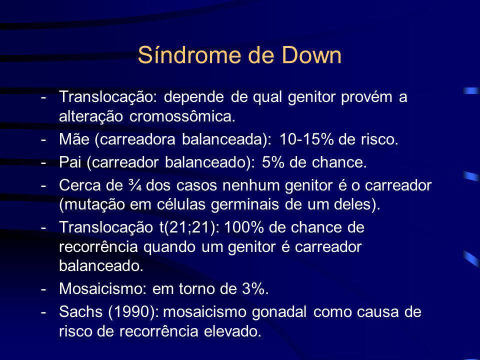 Síndrome de Down 5. Risco de recorrência: -Depende da etiologia. -Trissomia livre do cromossomo 21: risco estimado em 1% para casal que já tem um filh