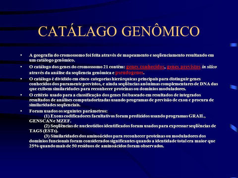 ASPECTOS GERAIS Cromossomo 21 representa cerca 1-1,5% do genoma humano. O cromossomo 21 foi o primeiro autossomo que foram desenvolvidos um mapa de ac