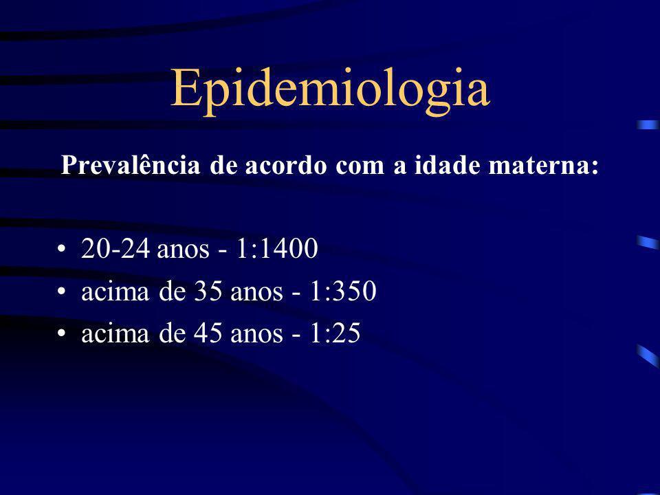 Epidemiologia A freqüência cumulativa de nascimentos com trissomia do 21, 18, 13 é menor que 1%; A taxa de nascimentos com Síndrome de Down é de 1:700