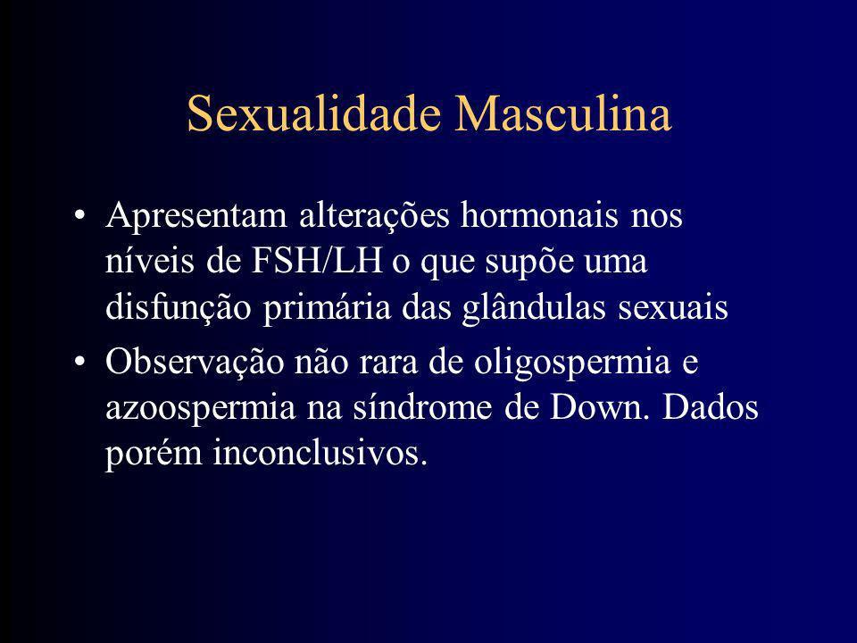 Desenvolvimento sexual Masculino Mesmos atributos dos não sindrômicos Fertilidade discutida (somente um caso conhecido no mundo) Excesso de peso e bai