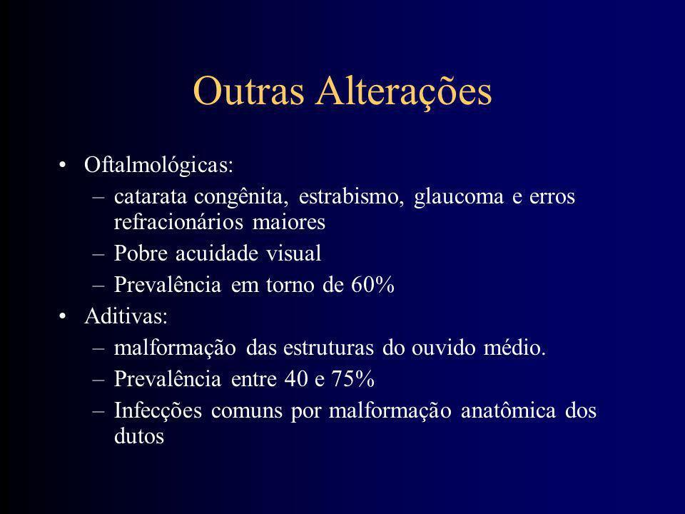 Alterações Gastrointestinais –Atresia duodenal (2 a 5%) –D. de Hirschsprung (2%) evolui para enterocolite –Onfalocele, pâncreas em anel, malformação a