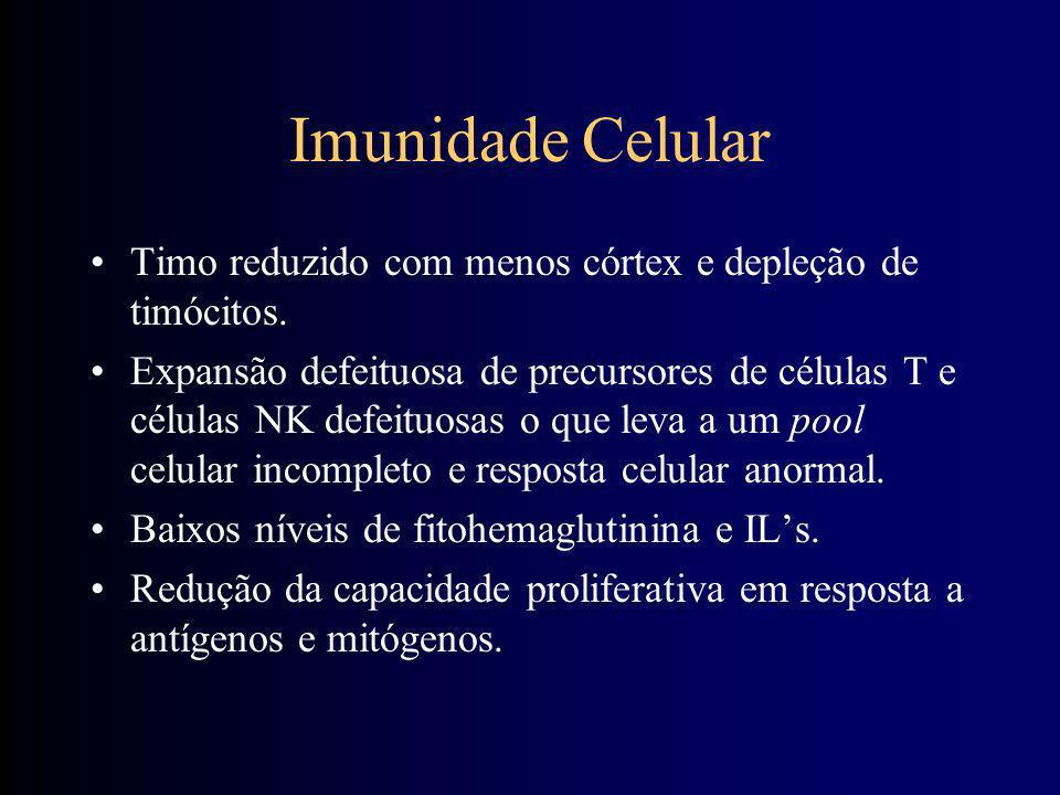 Sistema Imune em Geral Suceptibilidade aumentada à infecção como causa principal de morbimortalidade Ausência de imunodeficiência franca, mas com sist
