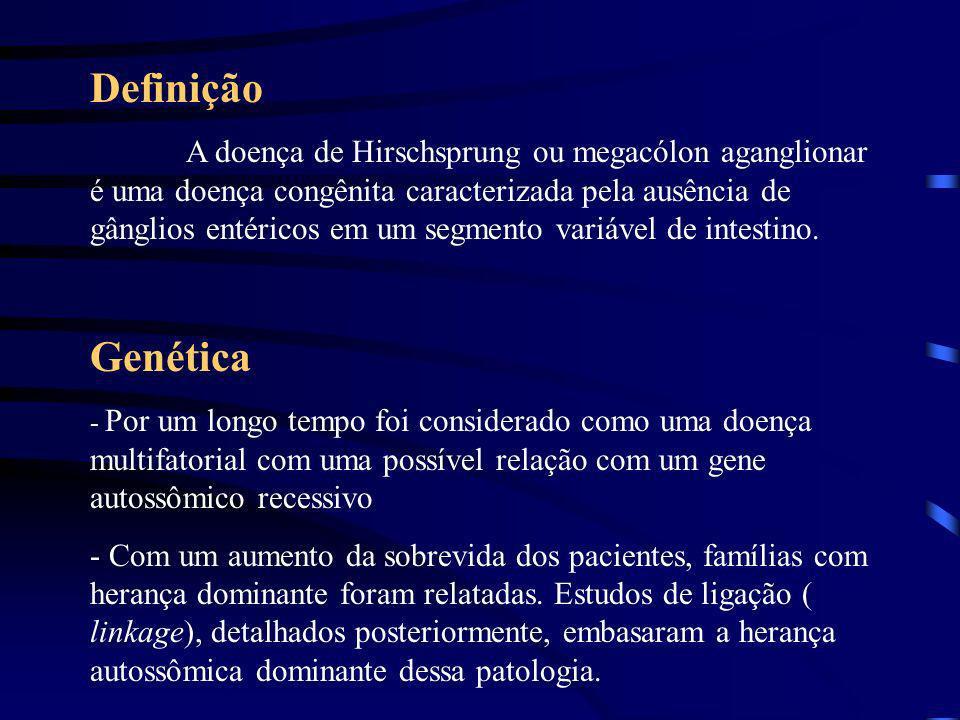 DOENÇA DE HIRSCHSPRUNG Duas mal formações associadas a síndrome de Down: -Atresia duodenal : 2 a 5 % com SD e 20 – 30% dos com AD tem SD -Doença de Hi
